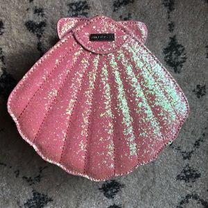 Skinnydip London glitter seashell purse